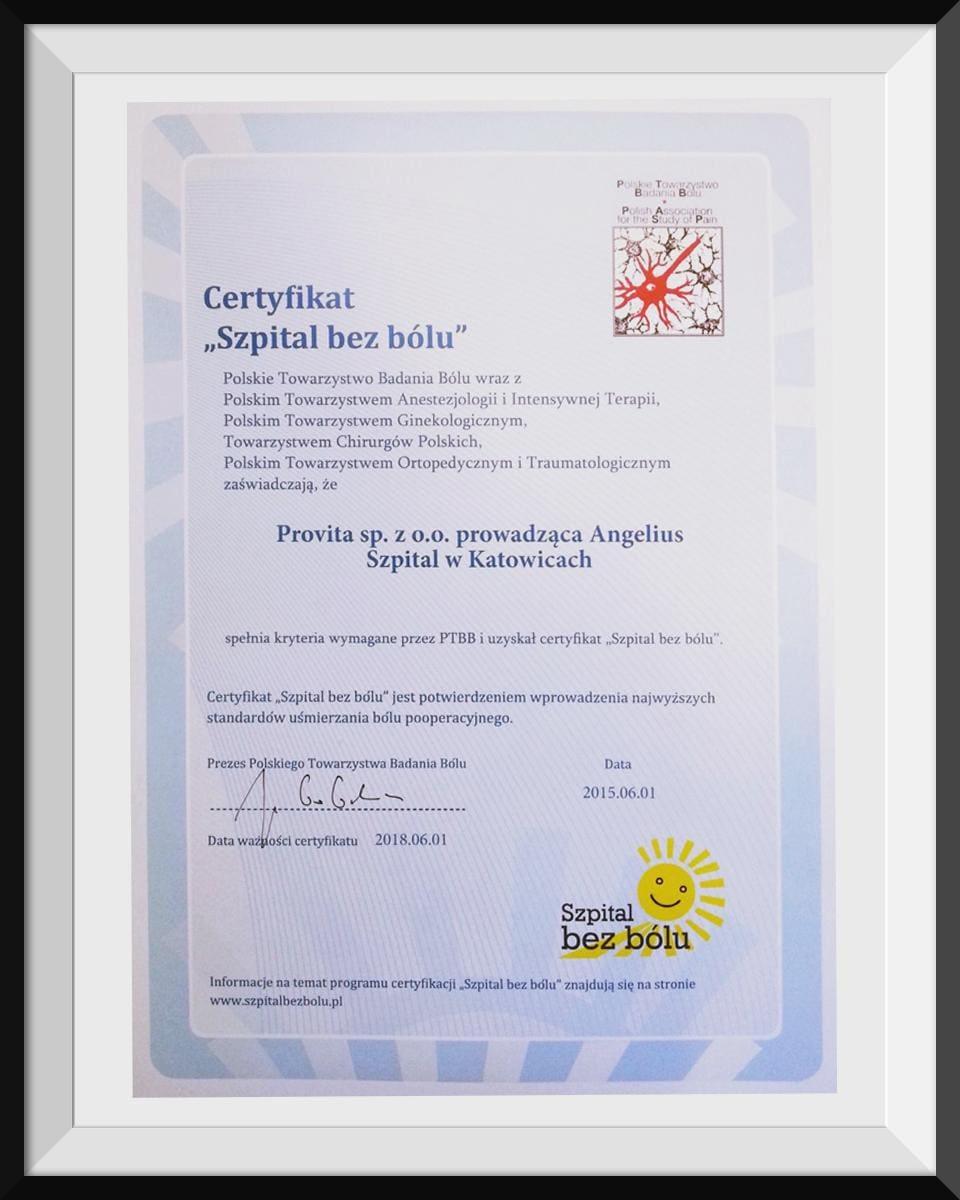 certyfikat szpital bez bolu