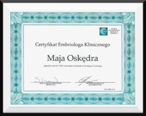 certyfikat maja oskedra