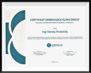 certyfikat embriolog dorota piniecka